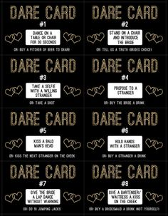 Bachelorette Party Gold Dare Cards Game - Welcome to our website, We hope you are satisfied with the content we offer. Bachelorette Dares, Bachelorette Party Planning, Bachlorette Party, Bachelorette Party Decorations, Bachelorette Weekend, Bachelorette Party Scavenger Hunt, Bachelorette Drinking Games, Truth Or Dare Questions, This Or That Questions