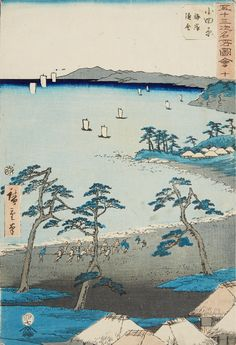 Utagawa Hiroshige (1797–1858)  Two ôban from the series Gojûsan tsugi meisho zue. Signed: Hiroshige hitsu. Publisher: Tsutaya Kichizô. Censor: aratame. Date: 7/1855. a) No. 10. Title: Odawara, kaigan gyosha. Boat pullers on a beach. b) No. 17. Title: Yui, Satta tôge oya shirazu. Road over cliffs. (2) Good impressions, slightly yellowed, a) colours faded, margins trimmed off, b) still good colours, glue stains in margins.