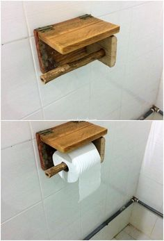 Let's share out the design of the wood pallet toilet rack paper holder with y. Bathroom Toilet Paper Holders, Toilet Paper Dispenser, Wood Pallet Furniture, Wood Pallets, Furniture Ideas, Unique Home Decor, Home Decor Items, Diy Pallet Projects, Wood Projects