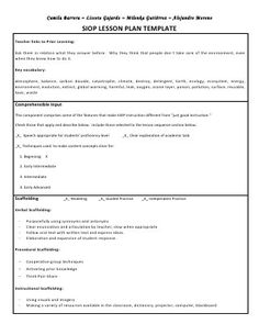 Types Of Lesson Plan Templates  Siop Lesson Plan Template