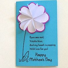 Mother's Day Flower Card .  Change the message and this flower card works for birthdays, get well or package decorations. More Flower crafts at www.freekidscrafts.com