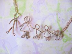 Personalized Family Necklace - Customized Silver Stick Figure Mothers Day Gift. $12.00, via Etsy.
