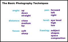 Introducing Photography Techniques: Some Basic Vocabulary for Teaching Kids How to See Photography Basics, School Photography, Photography Lessons, Digital Photography, Children Photography, Nikon Photography, Creative Photography, Landscape Photography, Photography Ideas