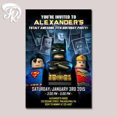 Batman Superman and Wonder Woman Lego Birthday Party Card Digital Invitation. HOW TO ORDER Complete data on: - Size Invitation : - Name : - Age : - Party Date : - Party Time : - Party Location : - RSV