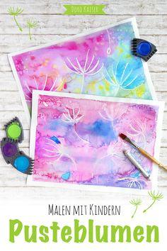 Malen mit Kindern: eine Schritt-für-Schritt Anleitung, um mit Wasserfarben und Wachsstiften ganz leicht Pusteblumen zu malen ❀
