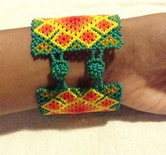 Wixaritari Jaguar Bracelet Beaded Huichol Bracelet Native