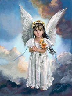 """Engle i MALERI"" Sandra Kuck. Angel Images, Angel Pictures, Celestial, I Believe In Angels, Ange Demon, My Guardian Angel, Angels Among Us, Angel Art, Daffodils"
