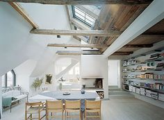 Discover more of the best Interior, Design, Spaces, Decor, and Deco inspiration on Designspiration Interior Design Inspiration, Home Interior Design, Interior Architecture, Interior And Exterior, Stockholm Apartment, Ceiling Beams, Ceiling Windows, My Dream Home, Hostel