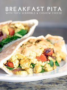 Vegan Breakfast Pita with tofu scramble cashew cheese | veganyogalife.com
