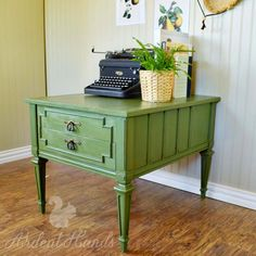 Ardent Hands Designs: Before & After >> Green French Country End Tables
