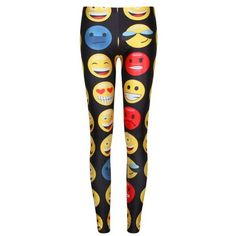 Trendy Emoji Print Stretchy Leggings For Women ($11) ❤ liked on Polyvore featuring pants, leggings, stretch pants, black leggings, print pants, patterned leggings y black trousers