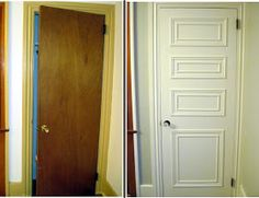"Our Old Abode: Hollow Core Door Makeover. lots of these old doors in our ""new"" house! Home Upgrades, Remodeling Mobile Homes, Home Remodeling, Basement Renovations, Hollow Core Doors, Door Makeover, Door Redo, Up House, Old Doors"