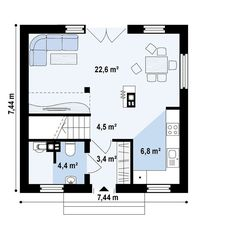 proiecte de case mici sub 100 de metri patrati Small houses under 100 square meters 7 Design Case, Store Fronts, Stairways, Beautiful Homes, House Plans, Sweet Home, Floor Plans, House Design, Flooring