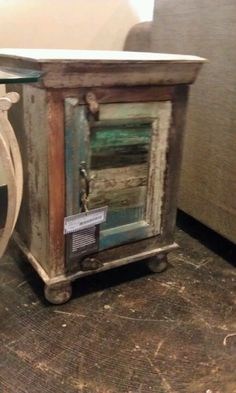 Old shutter end table