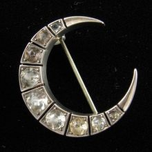 Georgian Crescent Moon Paste and Silver Brooch for sale $750 could make chambers this shape and diy grow crystals inside