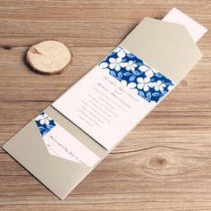 printable blue flowers simple pocket wedding invitations EWPI037 as low as $1.69 Pocket Wedding Invitations, Reception Card, Response Cards, Blue Flowers, Save The Date, Envelope, Printables, Simple, Wedding Ideas