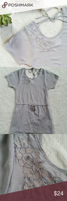 """Chiffon Embellished Dress/Tunic Luluvia light gray chiffon floral embellished dress. Up half part is semi sheer and bottom half is lined. Beautiful flower embellishment details. Size small. Pit to pit is 18"""" flat and shoulder to hem is 33"""". In excellent pre-loved condition. Luluvia  Dresses Tunics"""