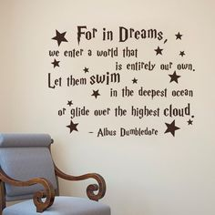 "Albus Dumbledore Quote For In Dreams We Enter A World That Is Entirely Our Own - Harry Potter Wall Decal Nursery Vintl Wall Sticker(dark gray, 17""h x22""w): Amazon.co.uk: Kitchen & Home"