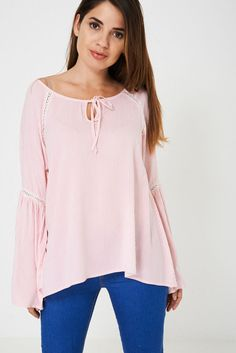 Fluted Sleeve Top in Pink Stripes Bohemian Tops, Hippie Festival, Pink Stripes, Hippie Boho, Shirt Blouses, Bell Sleeve Top, Tunic Tops, Clothes For Women, Model