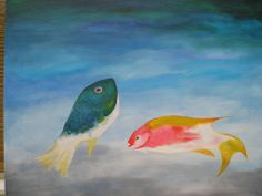 'Uitheemse Vissen '/'Non-native fish  Acrylics on canvas 30 - 60 cm Painted by Eva van het Ende