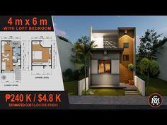 TINY HOUSE DESIGN 4 x 6 M with Loft Bedroom (24 sq.m.) | House Design #5 - YouTube Tiny Houses Plans With Loft, Small Modern House Plans, House Plan With Loft, 3d House Plans, 2 Bedroom House Plans, Tiny House Loft, Small House Floor Plans, Bedroom Loft, Loft Plan