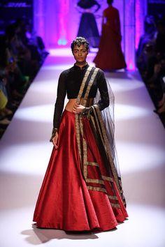 Shantanu & Nikhil Red #Lehenga With Black Sleeved #Blouse At Lakme Fashion Week Winter/Festive 2014.