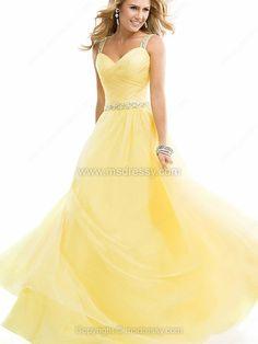 A-line Straps Chiffon Floor-length Rhinestone Evening Dresses -$179.99