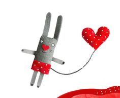 Bunny Felt Brooch  I have a Red Heart with polkadots. by krize, $27.00