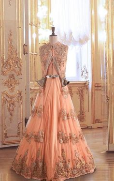 peach indo western gown silhouette for brides sister, floor length, edgy, victorian inspired, vintage,Dolly J Bridal Collection