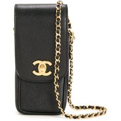 Chanel Vintage CC chain shoulder phone case ($2,444) ❤ liked on Polyvore featuring accessories, tech accessories, black and chanel