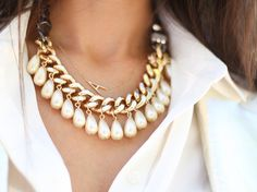Chunky necklaces, especially in gold or pearl (love this one that combines the two)