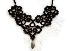 Black lace statement tatted necklace with antique di MypreciousCG