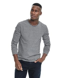 Banana Republic Long-Sleve Stripe Crew - to wear with a suit.