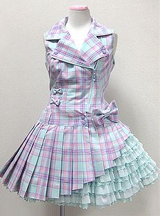 Angelic Pretty / Jumper Skirt / Macaron Tartan Riders JSK