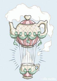 Teapot Hot Air Balloon by Ella Mobbs