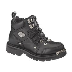 Harley-Davidson® Women's Tracey Boot Black Leather 6 Lace and Inside Zip 84496 Harley Boots, Harley Gear, Harley Davidson Boots, Motorcycle Boots Outfit, Leather Motorcycle Boots, Black Leather Boots, Motorcycle Clothes, Motorcycle Gear, Harley Davidson Kleidung