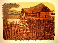 Tithe Barn and fence - Robert Tavener House Quilts, Etchings, Printmaking, Fence, Stamping, Landscapes, Barn, British, Fine Art