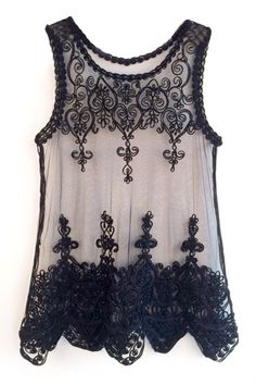 Black Mesh Insert Lace Crochet Sheer Tank