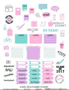 School Rules Planner Stickers | Free printable by VintageGlamStudio, for personal use only.