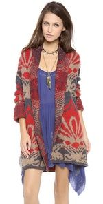 Free People Winters Day Cardigan What's New | SHOPBOP  Love this trend of big bold prints on colorful cardigans! They brighten and gloomy day and make every outfit better.