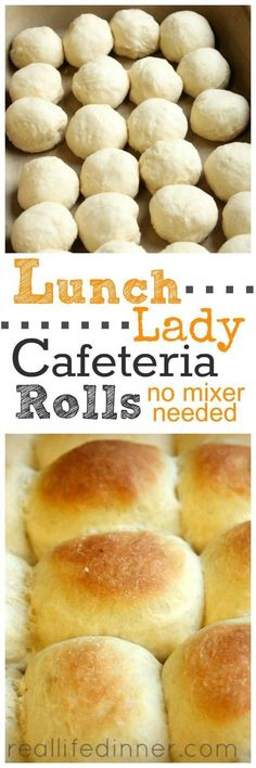 Lunch Lady Cafeteria Rolls {Step by Step Pictures and Instructions.NO MIXER NEEDED} Tried and True Roll Recipe that tastes just like the one the lunch ladies made in the school cafeteria. Bread Machine Recipes, Bread Recipes, Baking Recipes, Fast Recipes, Crisco Recipes, Sausage Recipes, Chicken Recipes, Healthy Recipes, Bread And Pastries