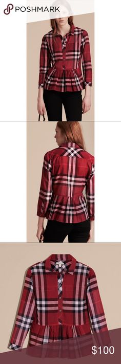 Burberry Check Cotton Peplum Shirt Poppy Red - L Great condition! Only worn 1-2x. As with all Burberry, this fits more like a Medium-Large in my opinion! Red signature plaid pattern. You're pretty much guaranteed compliments in this beautiful top! ❤️  Beautiful lightweightcotton shirt incheck with patch pockets and a ruffled peplum waist. Bracelet-length sleeves add elegant detail. *  100% cotton *  Buttons: mother-of-pearl *  Single-button cuffs *  Point collar *  Button…