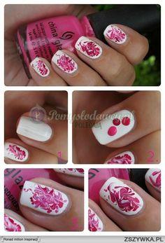 use toothpick to mix nailpolish and create flowery pattern