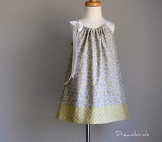 Last One - Girls Pillowcase Dress - Sophisticated Style in Grey, Yellow, and White - Sizes 18 Months, 2T, 3T or 4T