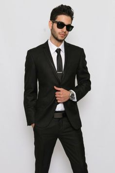 Slim Fit Men Suit Trim Collar Black 2 Button Tuxedo / by azarsuits, $119.00