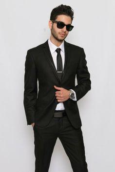 Slim Fit Men Suit Trim Collar Black 2 Button Tuxedo / by azarsuits, $119.00