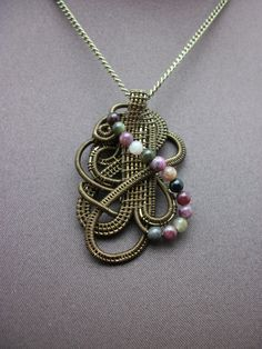 Wire Wrapped Pendant in Antique Brass and by BuyThePlaceWithBeads