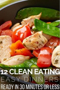 Looking for clean eating recipes for dinner? Check out this collection of 12 easy & quick clean eating recipes! Whether you're just beginning to eat clean for weight loss, or you are searching for healthy recipes for family dinner, or for two, you're guaranteed to find delicious clean eating recipes that are easy to prepare! From healthy chicken and fish dishes to clean eating beef and pork, there's something everyone will love in this collection of clean eating meals! #cleaneatingrecipes