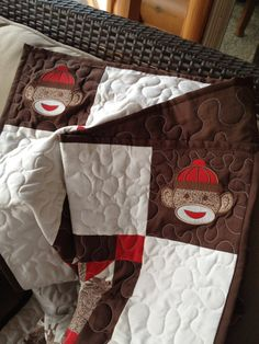 Sock Monkey Quilt and Pillow Set | Sewing | Pinterest | Monkey ... : sock monkey quilt kit - Adamdwight.com
