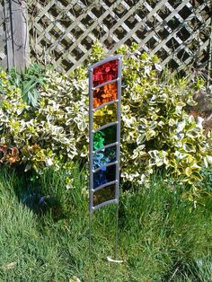 Stained Glass Garden Art panel with legs - Rainbow Tower